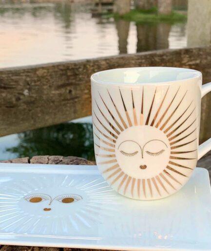 Henkelbecher mit einer goldenen Sonne ♥ ein Geschenk für einen geliebten Menschen ♥ Weihnachtsgeschenk Henkeltasse aus Porzellan ♥ Geschenk kaufen