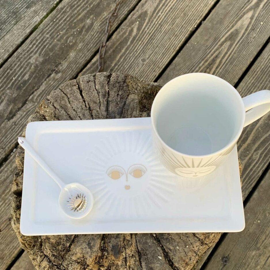 Porzellan Geschirr mit einer goldenen Sonne ♥ Weihnachtsgeschenk Henkeltasse aus Porzellan ♥ Geschenk kaufen
