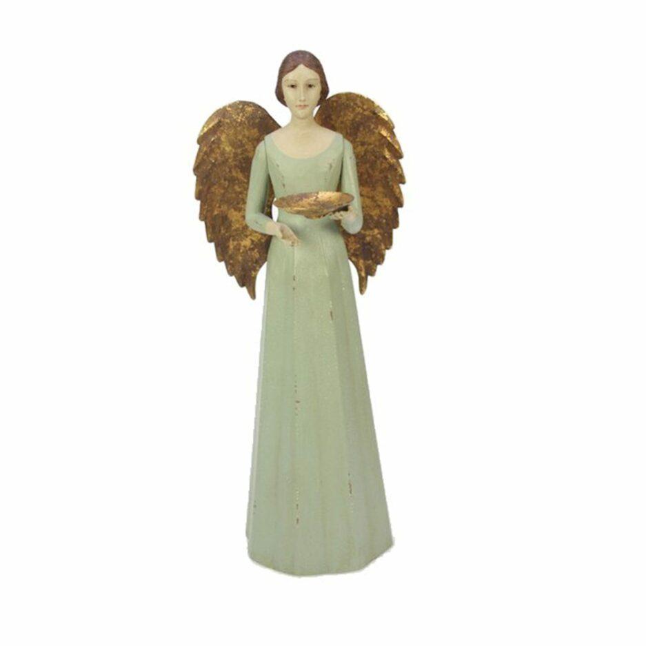 Engel Kerzenhalter mit goldenen Flügeln für ein Teelicht im Vintage Stil. Weihnachtdekoration im romantischen Stil mit Engeln kaufen