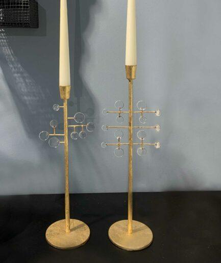 Kerzenständer Amira & Amor aus Blattgold mit Elementen aus Glas ♥ Goldener Kerzenständer für Stabkerze ♥ Goldener Boho Kerzenständer kaufen