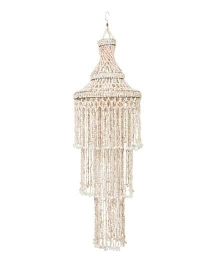Lampenschirm aus Muscheln mit 140 cm Länge im Bohemian Wohnstil. Muschellampe im Vintage Look mit drei Etagen und 40 cm Durchmesser kaufen