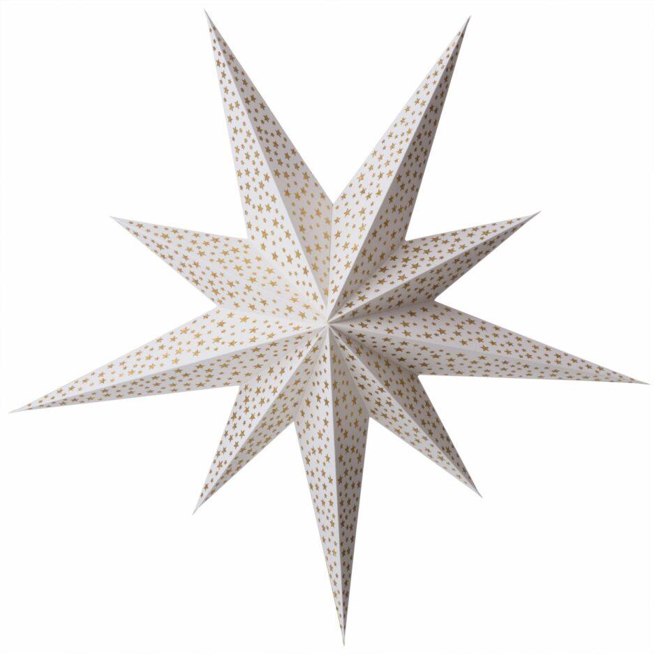"""Papierstern mit 100 cm ♥ Weihnachtsstern als Fensterdekoration in der Adventszeit ♥ Stern aus weißem Papier """"Stardust Gold"""" von Bungalow DK"""