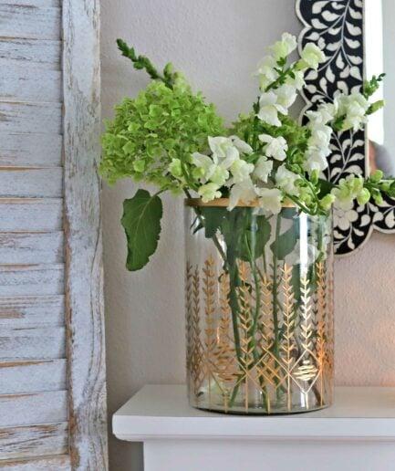 Große Glasvase mit Goldrand | Windlicht aus Glas mit Gold | Dekoration Weihnachten & Advent | Elegantes Windlicht und große Glasvase mit Goldrand