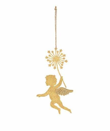 Deko Anhänger mit Engel und Zauberstab ♥ Weihnachtsengel als Dekoration und Geschenkanhänger ♥ Christbaumschmuck goldener Engel