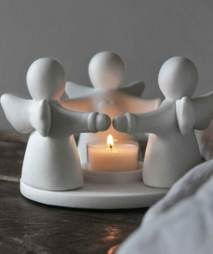 Kerzenhalter mit Engel aus Porzellan ♥ Teelichthalter mit Engeln als Deko für Winterzeit ♥ Weißen Teelichthalter aus Porzellan als Geschenk