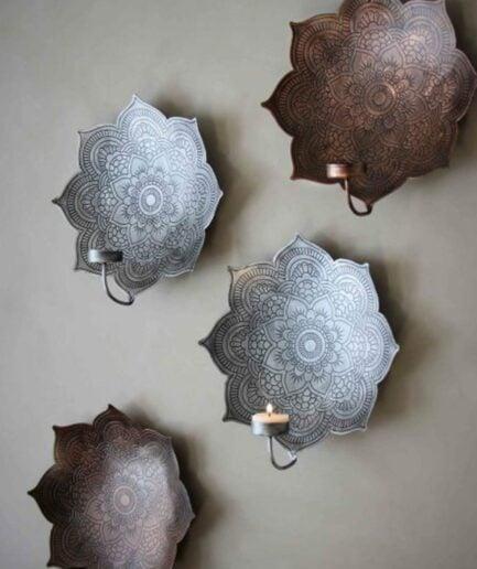 Wandkerzenhalter mit Mandala in Silber & Bronze im Bohemian Wohnstil. Kerzenhalter für die Wand aus Metall mit Muster bei Soulbirdee bestellen