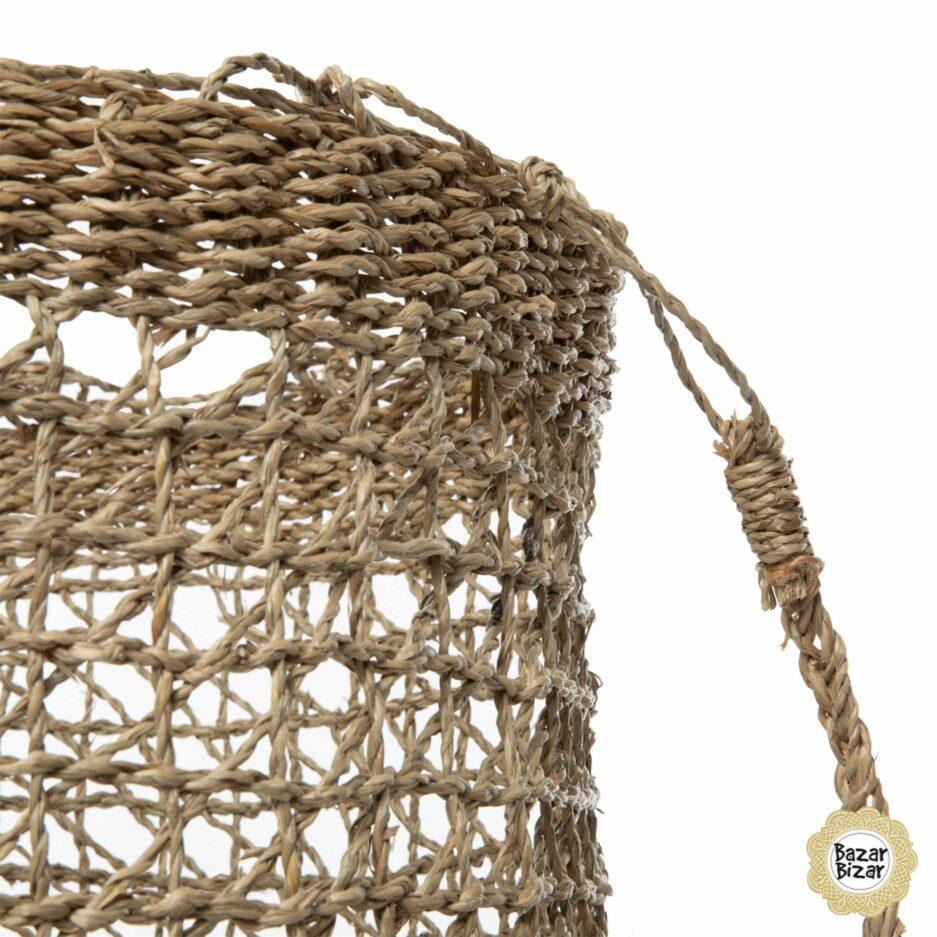 Taschen aus Seegras im sommerlichen Stil von Bazar Bizar. Henkeltaschen im Fischernetz Stil für den Sommer bei Soulbirdee kaufen