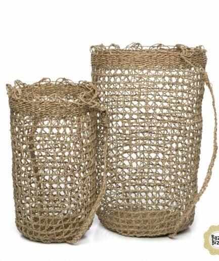 Rucksack aus Seegras im 2er Set von der Marke Bazar Bizar. Bohemian Taschen aus Gras mit Henkel -10% bei Soulbirdee kaufen