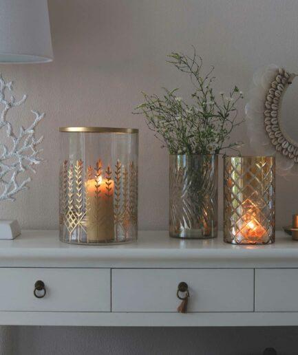 Windlichter graviert in Gold und Champagner aus Glas, die auch als Vase perfekt elegant sind