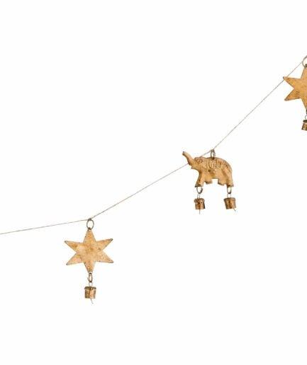 Girlande mit Elefant und Sternen in Gold im Bohemian Wohnstil. Vintage Weihnachtsdekoration mit Glocken online kaufen