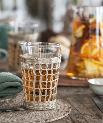 Trinkgläser mit Geflecht im 2er Set für heiße Getränke. Wasserglas mit Stroh und 9 cm Durchmesser online von IB Laursen kaufen